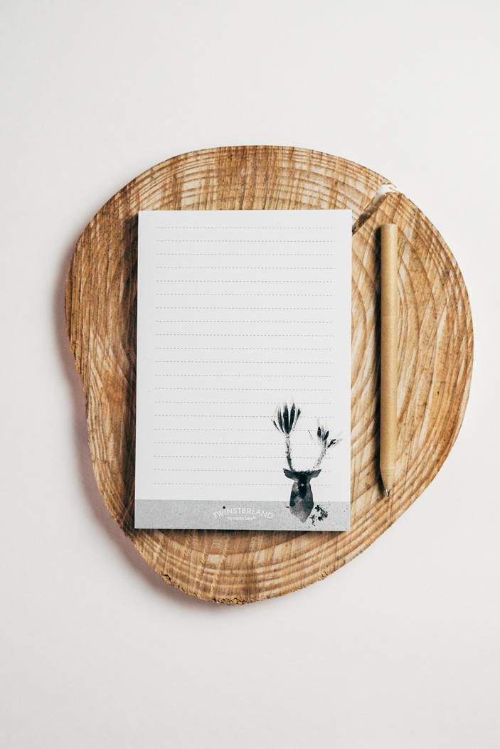 block de notas, notas, block, ciervo,oso,pájaro, papel eco